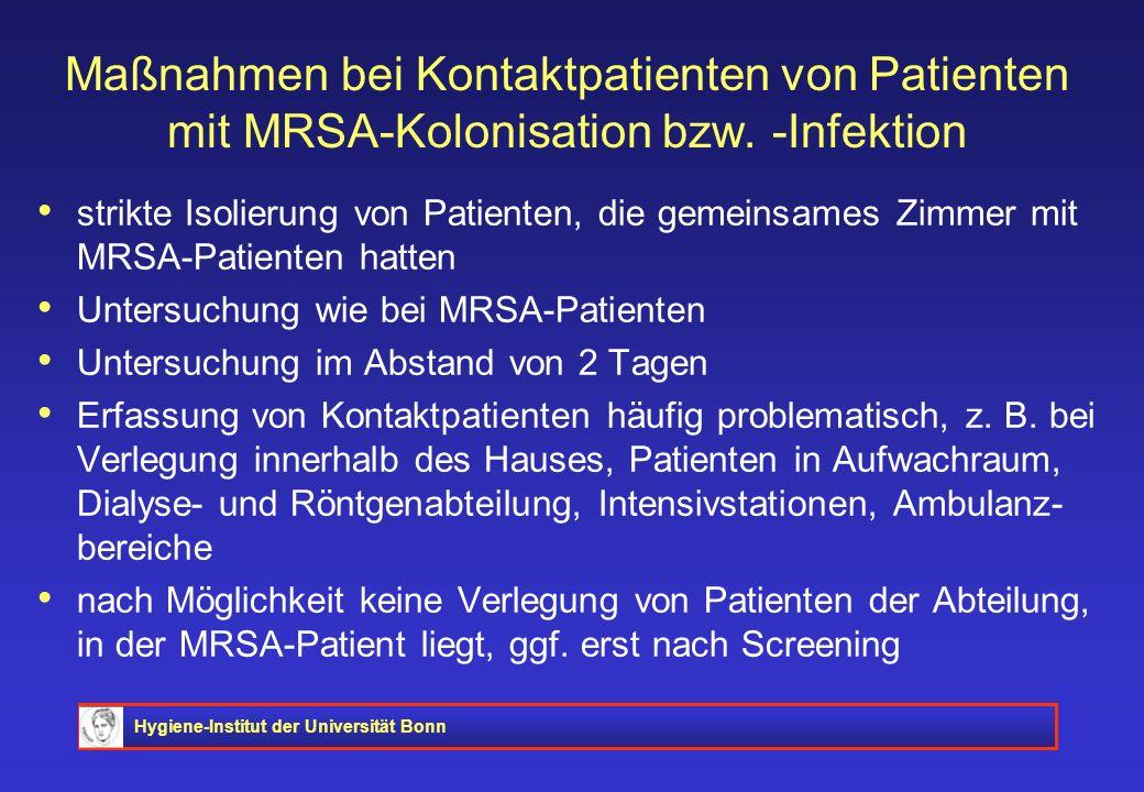 Hygiene-Institut der Universität Bonn Maßnahmen bei Kontaktpatienten von Patienten mit MRSA-Kolonisation bzw. -Infektion strikte Isolierung von Patien