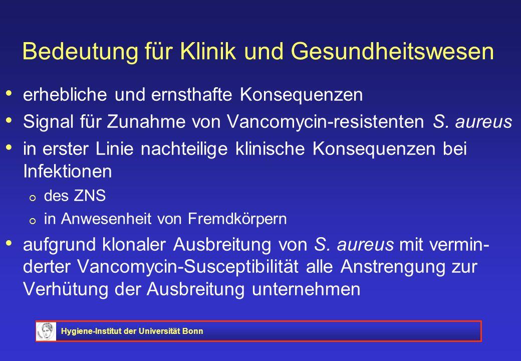 Hygiene-Institut der Universität Bonn Bedeutung für Klinik und Gesundheitswesen erhebliche und ernsthafte Konsequenzen Signal für Zunahme von Vancomyc
