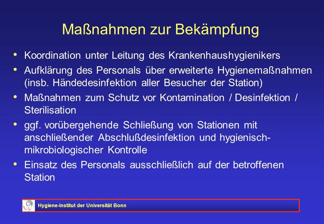 Hygiene-Institut der Universität Bonn Maßnahmen zur Bekämpfung Koordination unter Leitung des Krankenhaushygienikers Aufklärung des Personals über erw