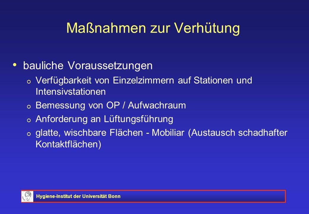 Hygiene-Institut der Universität Bonn Maßnahmen zur Verhütung bauliche Voraussetzungen Verfügbarkeit von Einzelzimmern auf Stationen und Intensivstati
