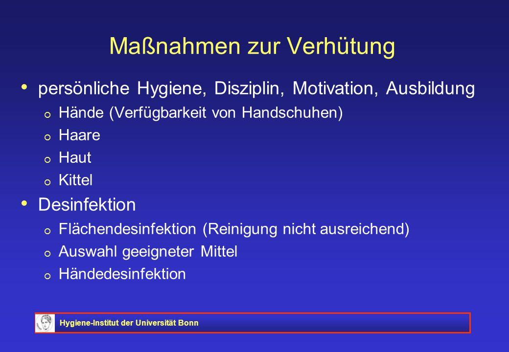 Hygiene-Institut der Universität Bonn Maßnahmen zur Verhütung persönliche Hygiene, Disziplin, Motivation, Ausbildung Hände (Verfügbarkeit von Handschu
