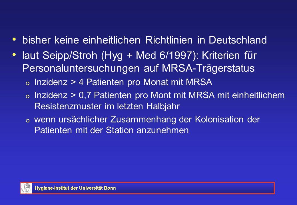Hygiene-Institut der Universität Bonn bisher keine einheitlichen Richtlinien in Deutschland laut Seipp/Stroh (Hyg + Med 6/1997): Kriterien für Persona