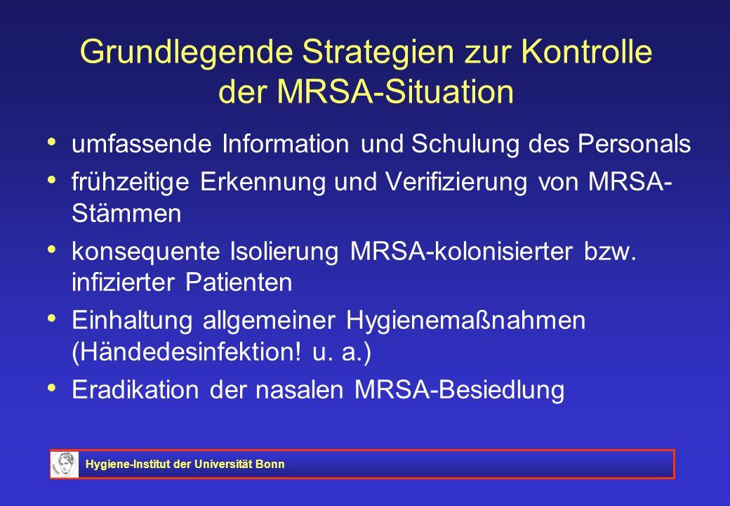 Hygiene-Institut der Universität Bonn Grundlegende Strategien zur Kontrolle der MRSA-Situation umfassende Information und Schulung des Personals frühz