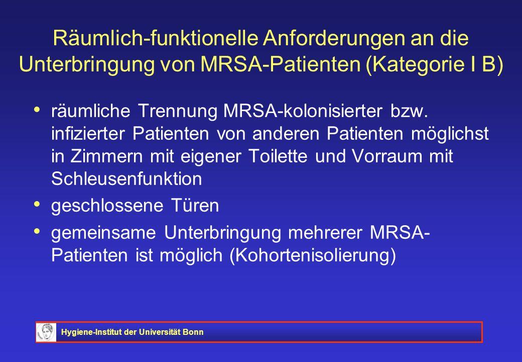 Hygiene-Institut der Universität Bonn Räumlich-funktionelle Anforderungen an die Unterbringung von MRSA-Patienten (Kategorie I B) räumliche Trennung M