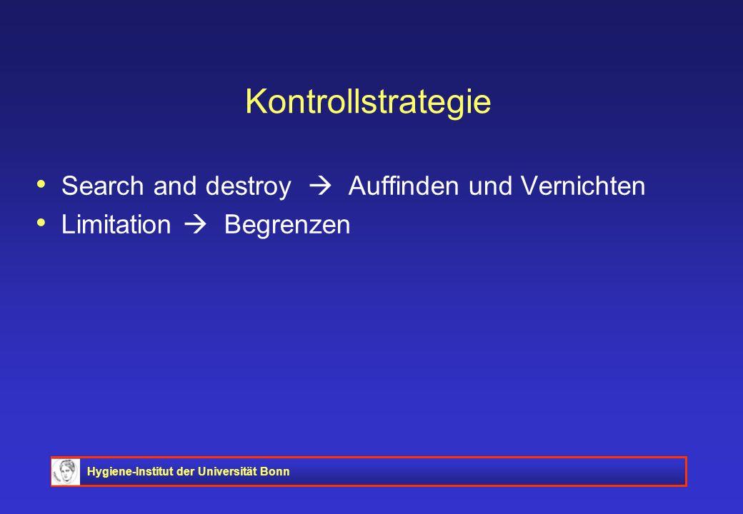 Hygiene-Institut der Universität Bonn Kontrollstrategie Search and destroy Auffinden und Vernichten Limitation Begrenzen