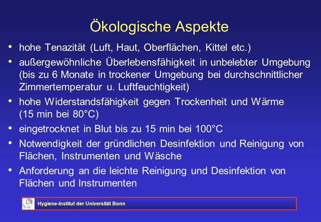 Hygiene-Institut der Universität Bonn Ökologische Aspekte hohe Tenazität (Luft, Haut, Oberflächen, Kittel etc.) außergewöhnliche Überlebensfähigkeit i