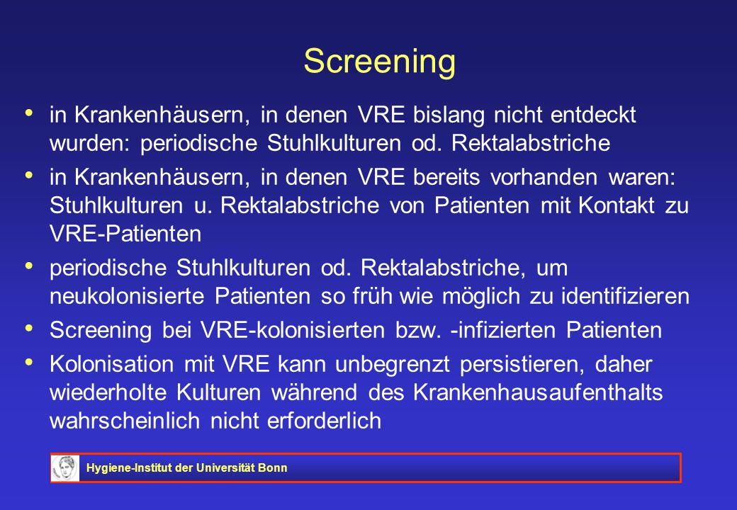 Hygiene-Institut der Universität Bonn Screening in Krankenhäusern, in denen VRE bislang nicht entdeckt wurden: periodische Stuhlkulturen od. Rektalabs