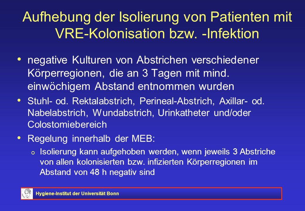 Hygiene-Institut der Universität Bonn Aufhebung der Isolierung von Patienten mit VRE-Kolonisation bzw. -Infektion negative Kulturen von Abstrichen ver