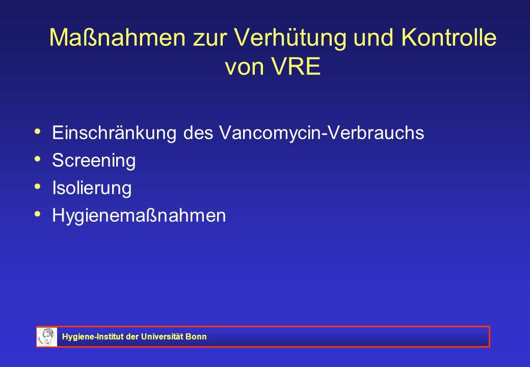 Hygiene-Institut der Universität Bonn Maßnahmen zur Verhütung und Kontrolle von VRE Einschränkung des Vancomycin-Verbrauchs Screening Isolierung Hygie