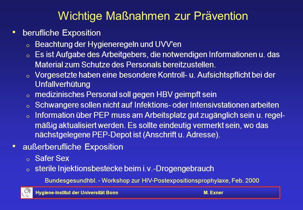 Hygiene-Institut der Universität BonnM. Exner Bundesgesundhbl. - Workshop zur HIV-Postexpositionsprophylaxe, Feb. 2000 Wichtige Maßnahmen zur Präventi
