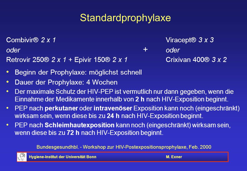 Hygiene-Institut der Universität BonnM. Exner Bundesgesundhbl. - Workshop zur HIV-Postexpositionsprophylaxe, Feb. 2000 Standardprophylaxe Combivir® 2