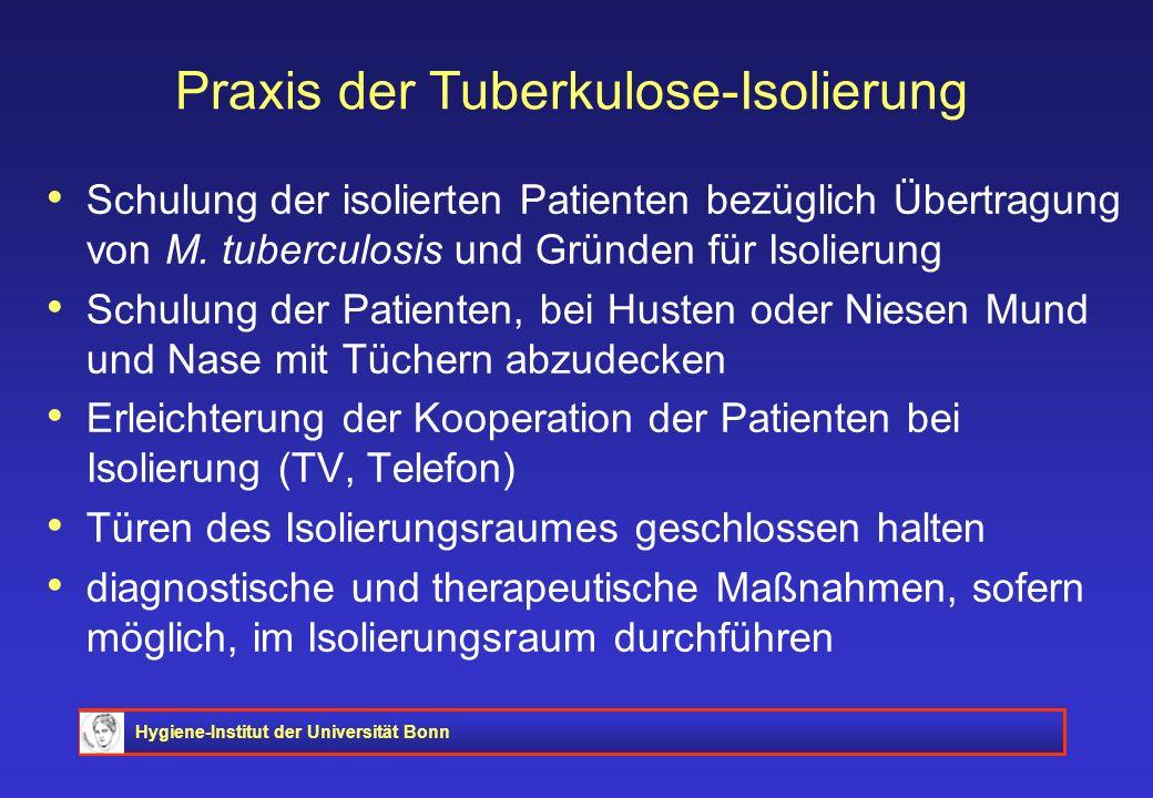 Hygiene-Institut der Universität Bonn Praxis der Tuberkulose-Isolierung Schulung der isolierten Patienten bezüglich Übertragung von M. tuberculosis un