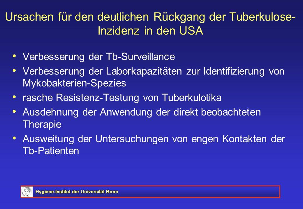 Hygiene-Institut der Universität Bonn Ursachen für den deutlichen Rückgang der Tuberkulose- Inzidenz in den USA Verbesserung der Tb-Surveillance Verbe