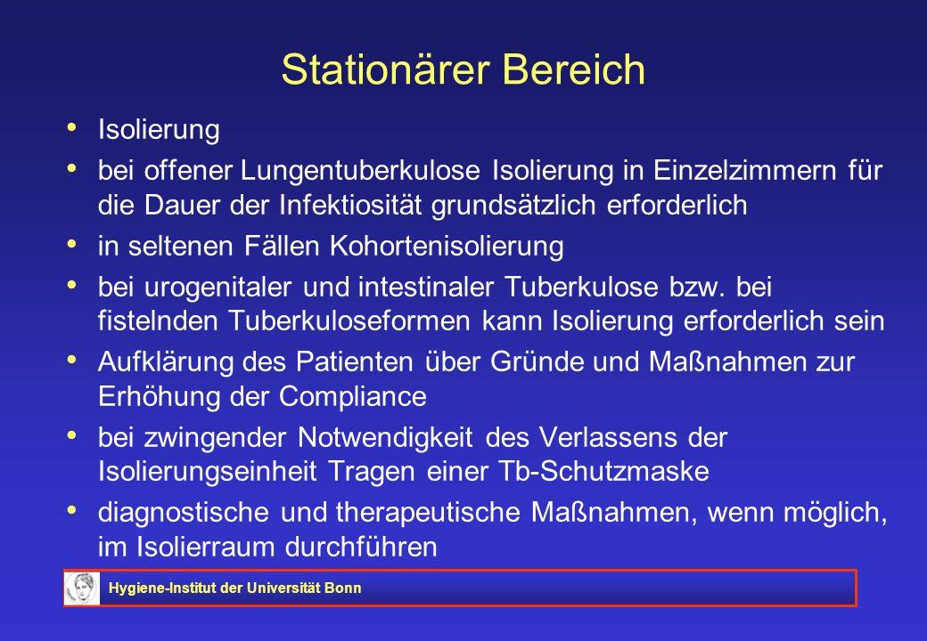 Hygiene-Institut der Universität Bonn Stationärer Bereich Isolierung bei offener Lungentuberkulose Isolierung in Einzelzimmern für die Dauer der Infek