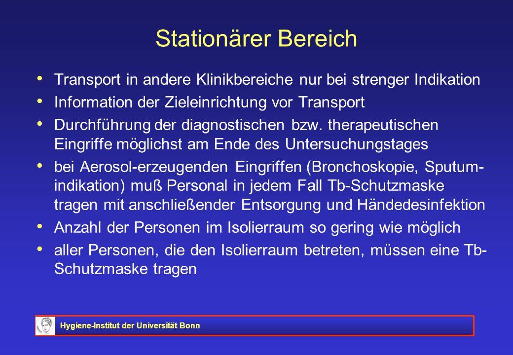 Hygiene-Institut der Universität Bonn Stationärer Bereich Transport in andere Klinikbereiche nur bei strenger Indikation Information der Zieleinrichtu