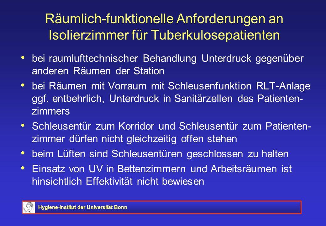 Hygiene-Institut der Universität Bonn Räumlich-funktionelle Anforderungen an Isolierzimmer für Tuberkulosepatienten bei raumlufttechnischer Behandlung