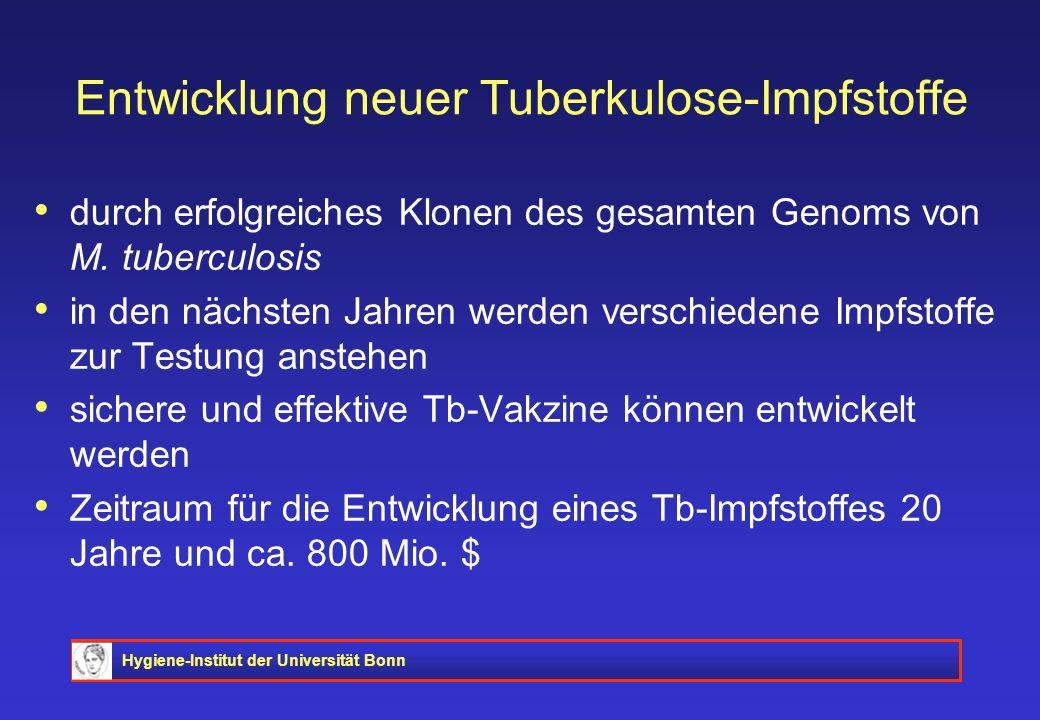 Hygiene-Institut der Universität Bonn Entwicklung neuer Tuberkulose-Impfstoffe durch erfolgreiches Klonen des gesamten Genoms von M. tuberculosis in d
