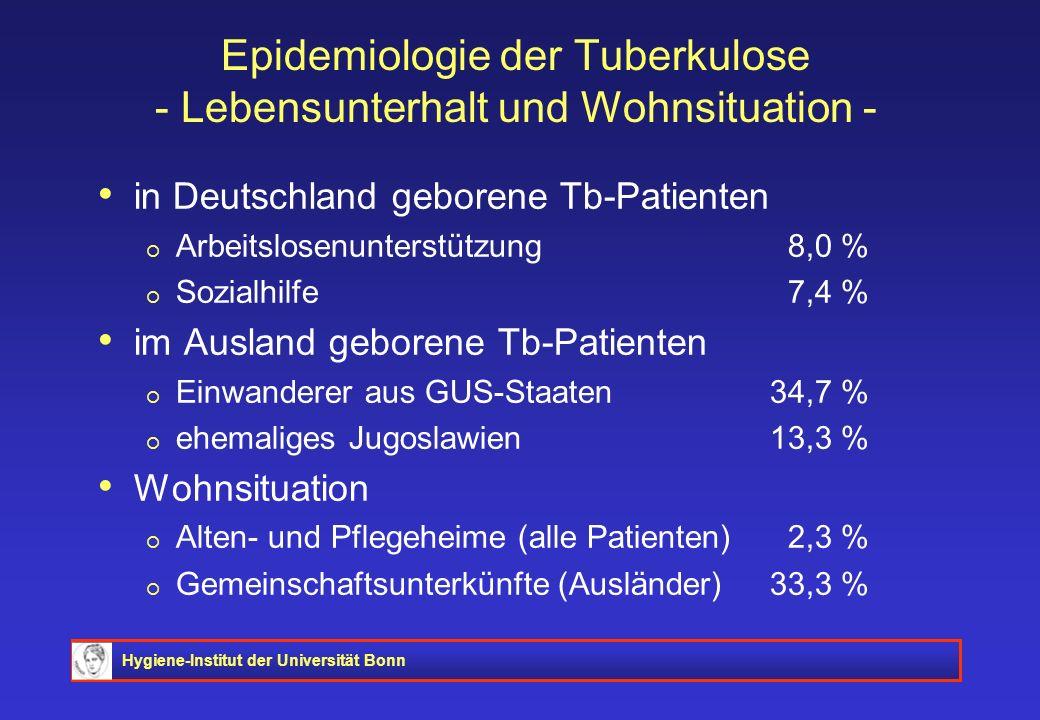 Hygiene-Institut der Universität Bonn Epidemiologie der Tuberkulose - Lebensunterhalt und Wohnsituation - in Deutschland geborene Tb-Patienten Arbeits