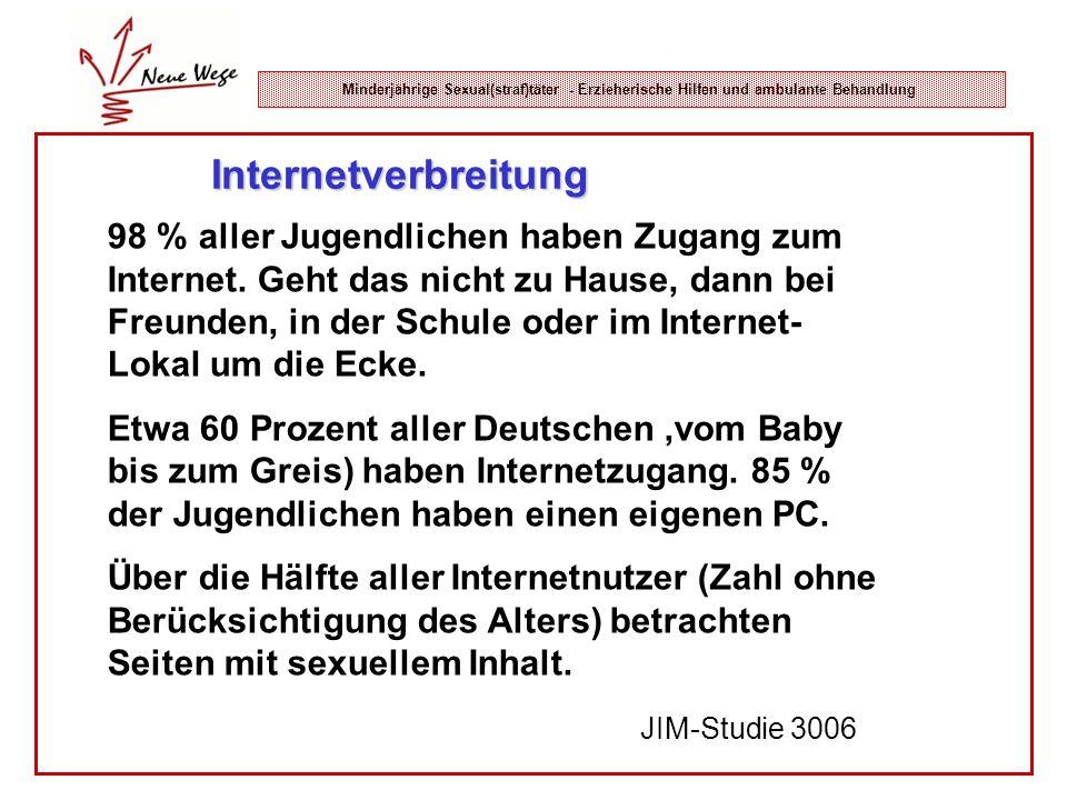 Minderjährige Sexual(straf)täter - Erzieherische Hilfen und ambulante Behandlung Internetverbreitung 98 % aller Jugendlichen haben Zugang zum Internet