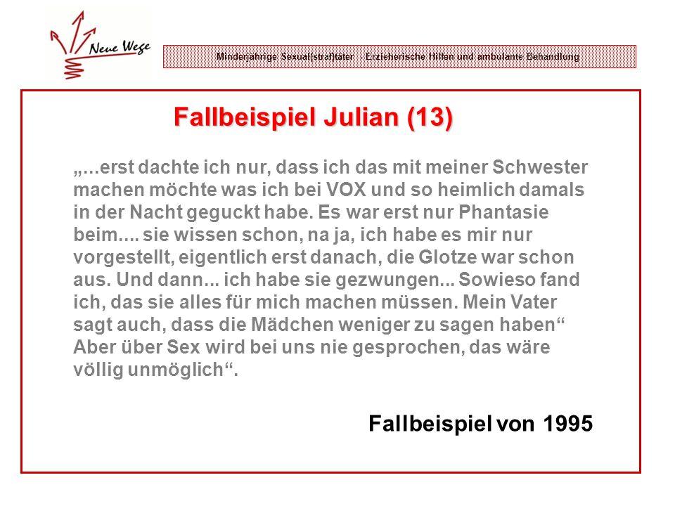 Minderjährige Sexual(straf)täter - Erzieherische Hilfen und ambulante Behandlung Fallbeispiel Julian (13)...erst dachte ich nur, dass ich das mit mein