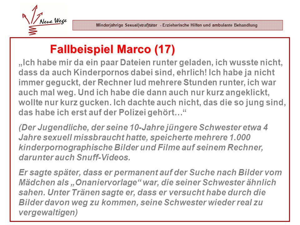 Minderjährige Sexual(straf)täter - Erzieherische Hilfen und ambulante Behandlung Fallbeispiel Marco (17) Ich habe mir da ein paar Dateien runter gelad