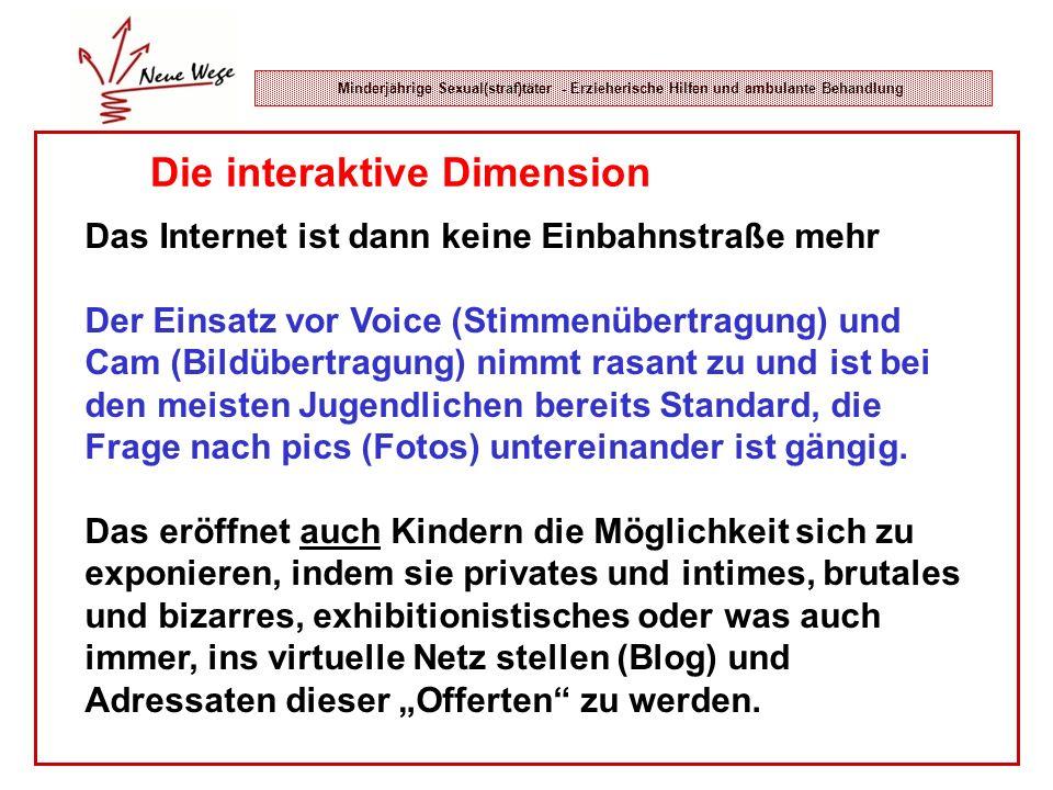 Minderjährige Sexual(straf)täter - Erzieherische Hilfen und ambulante Behandlung Die interaktive Dimension Das Internet ist dann keine Einbahnstraße m