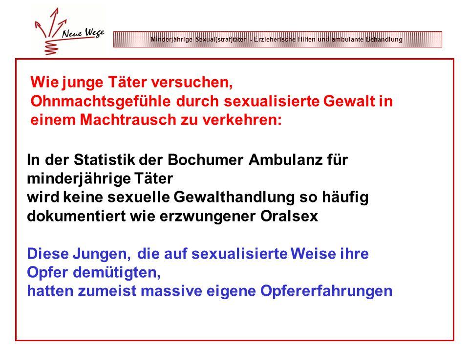 Minderjährige Sexual(straf)täter - Erzieherische Hilfen und ambulante Behandlung In der Statistik der Bochumer Ambulanz für minderjährige Täter wird k