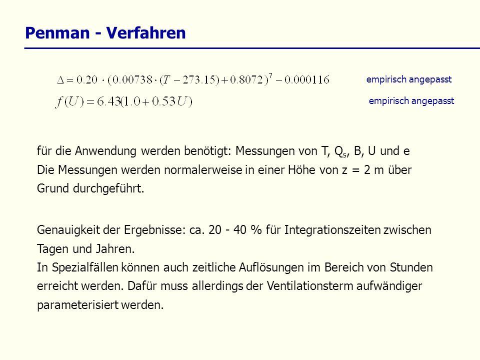 Penman - Verfahren empirisch angepasst für die Anwendung werden benötigt: Messungen von T, Q s, B, U und e Die Messungen werden normalerweise in einer