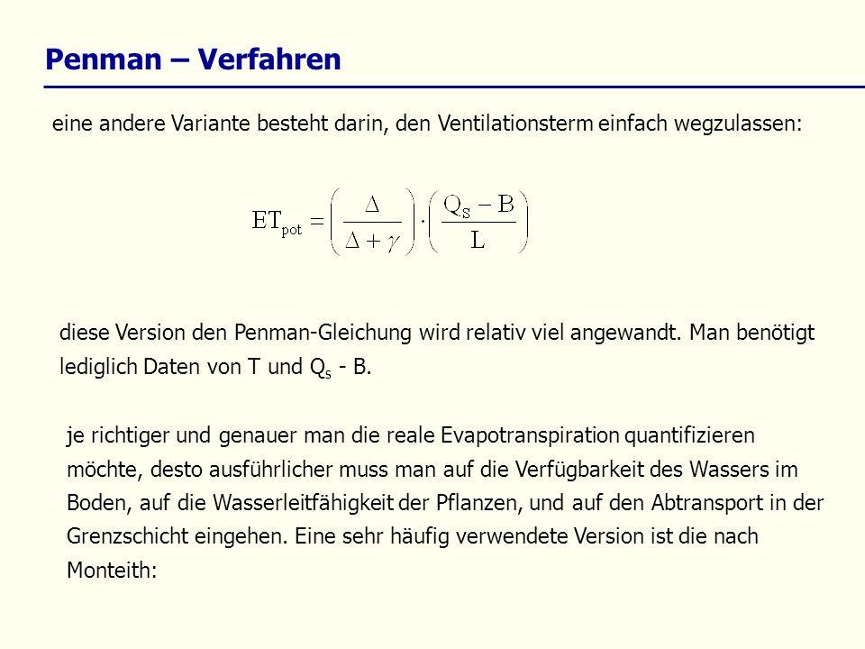 eine andere Variante besteht darin, den Ventilationsterm einfach wegzulassen: Penman – Verfahren diese Version den Penman-Gleichung wird relativ viel