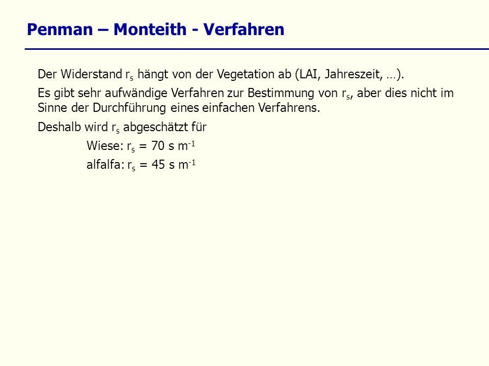 Penman – Monteith - Verfahren Der Widerstand r s hängt von der Vegetation ab (LAI, Jahreszeit, …). Es gibt sehr aufwändige Verfahren zur Bestimmung vo