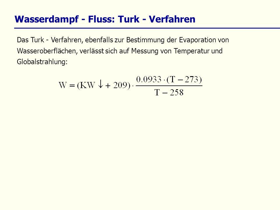 Das Turk - Verfahren, ebenfalls zur Bestimmung der Evaporation von Wasseroberflächen, verlässt sich auf Messung von Temperatur und Globalstrahlung: Wa