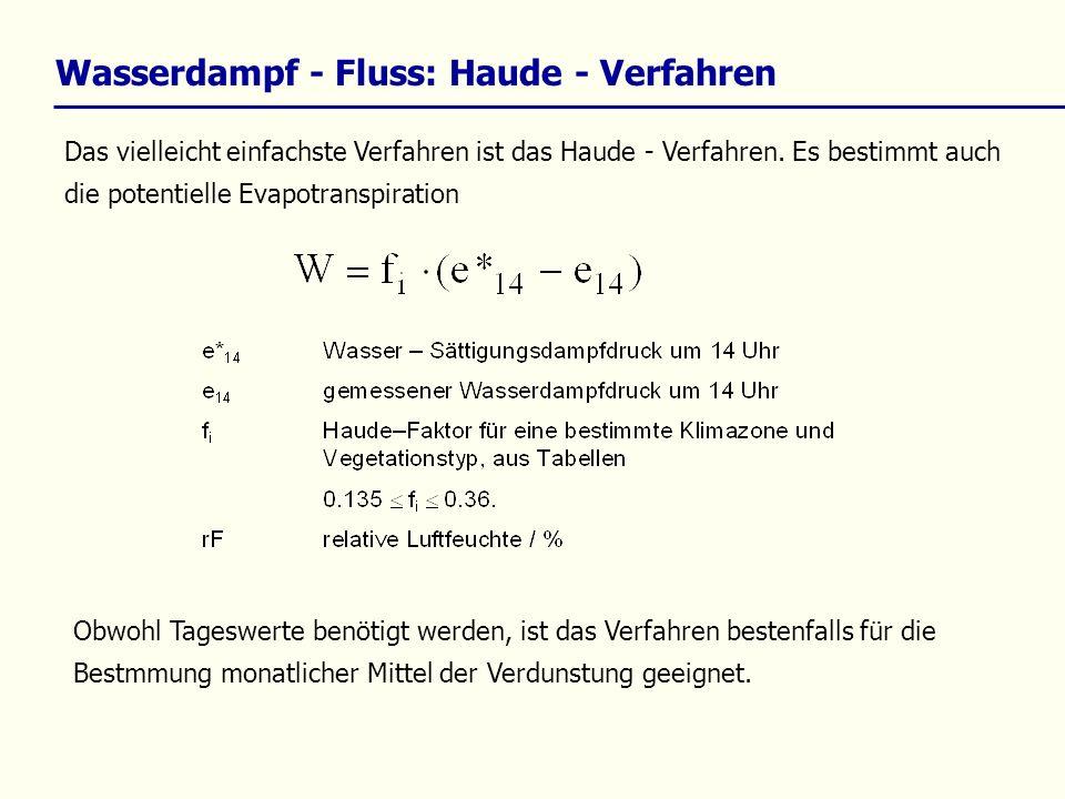 Wasserdampf - Fluss: Haude - Verfahren Das vielleicht einfachste Verfahren ist das Haude - Verfahren. Es bestimmt auch die potentielle Evapotranspirat