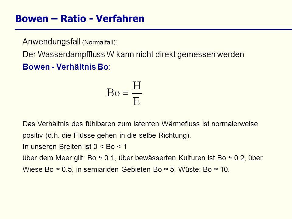 Bowen – Ratio - Verfahren Anwendungsfall (Normalfall) : Der Wasserdampffluss W kann nicht direkt gemessen werden Bowen - Verhältnis Bo: Das Verhältnis