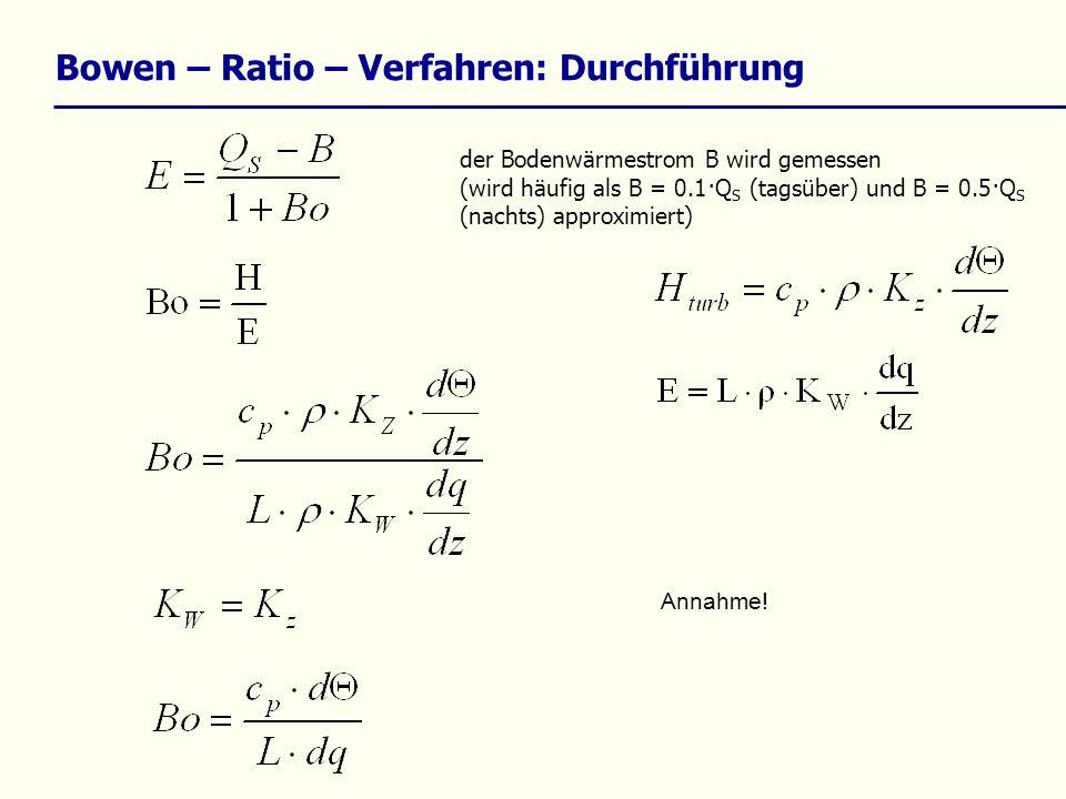 Bowen – Ratio – Verfahren: Durchführung der Bodenwärmestrom B wird gemessen (wird häufig als B = 0.1·Q S (tagsüber) und B = 0.5·Q S (nachts) approximi