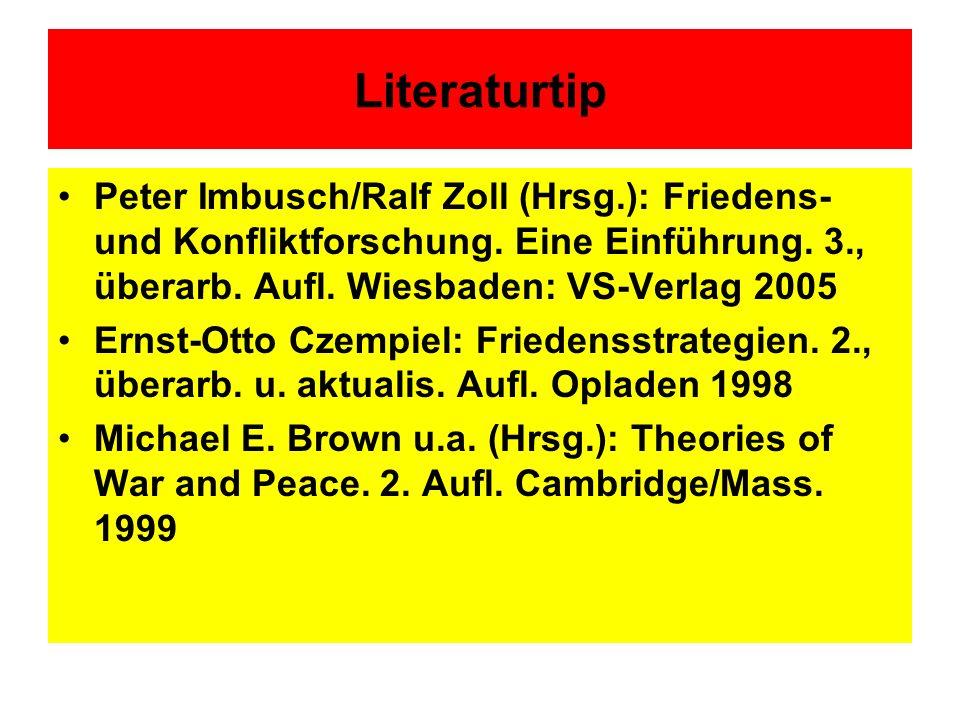 Literaturtip Peter Imbusch/Ralf Zoll (Hrsg.): Friedens- und Konfliktforschung. Eine Einführung. 3., überarb. Aufl. Wiesbaden: VS-Verlag 2005 Ernst-Ott