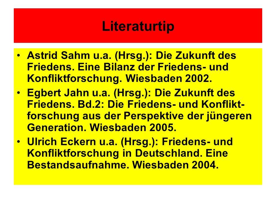 Literaturtip Astrid Sahm u.a. (Hrsg.): Die Zukunft des Friedens. Eine Bilanz der Friedens- und Konfliktforschung. Wiesbaden 2002. Egbert Jahn u.a. (Hr