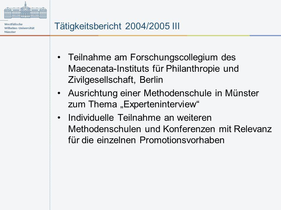 Tätigkeitsbericht 2004/2005 III Teilnahme am Forschungscollegium des Maecenata-Instituts für Philanthropie und Zivilgesellschaft, Berlin Ausrichtung einer Methodenschule in Münster zum Thema Experteninterview Individuelle Teilnahme an weiteren Methodenschulen und Konferenzen mit Relevanz für die einzelnen Promotionsvorhaben