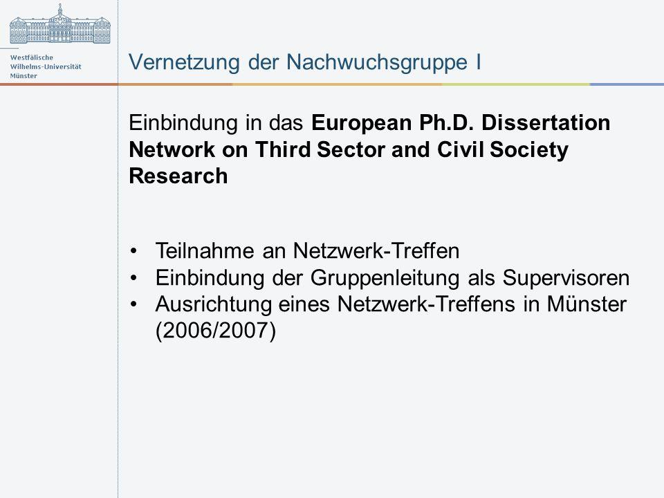 Vernetzung der Nachwuchsgruppe I Einbindung in das European Ph.D. Dissertation Network on Third Sector and Civil Society Research Teilnahme an Netzwer