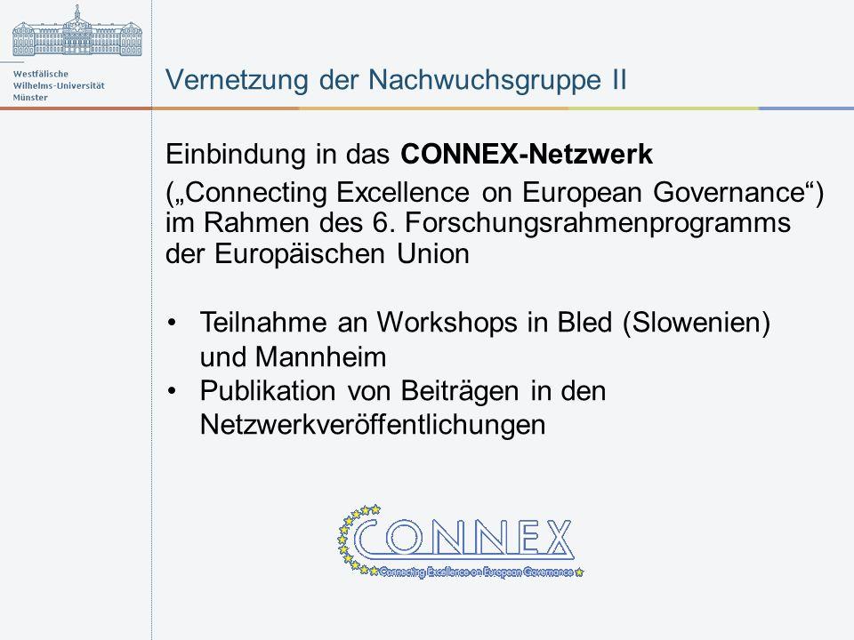 Vernetzung der Nachwuchsgruppe II Einbindung in das CONNEX-Netzwerk (Connecting Excellence on European Governance) im Rahmen des 6. Forschungsrahmenpr