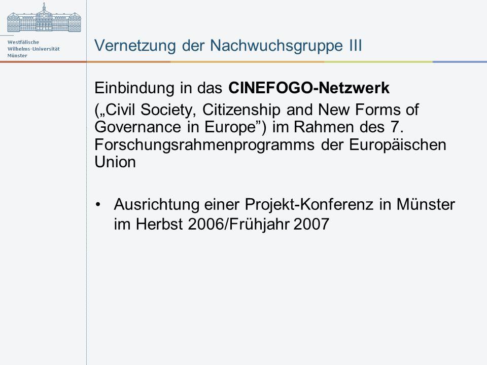 Vernetzung der Nachwuchsgruppe III Einbindung in das CINEFOGO-Netzwerk (Civil Society, Citizenship and New Forms of Governance in Europe) im Rahmen des 7.