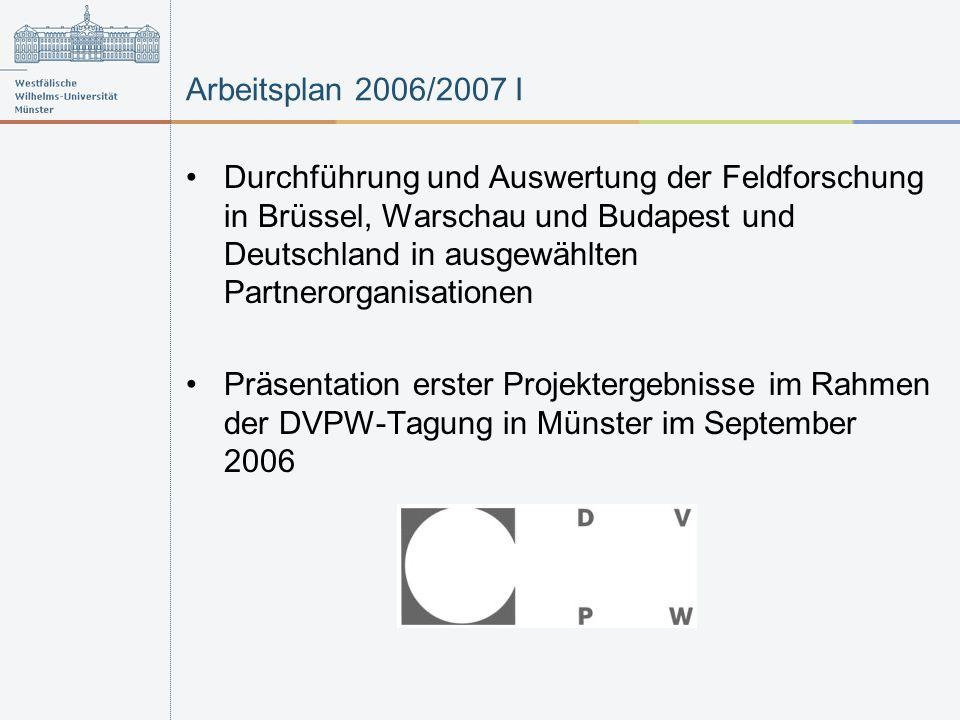 Arbeitsplan 2006/2007 I Durchführung und Auswertung der Feldforschung in Brüssel, Warschau und Budapest und Deutschland in ausgewählten Partnerorganisationen Präsentation erster Projektergebnisse im Rahmen der DVPW-Tagung in Münster im September 2006