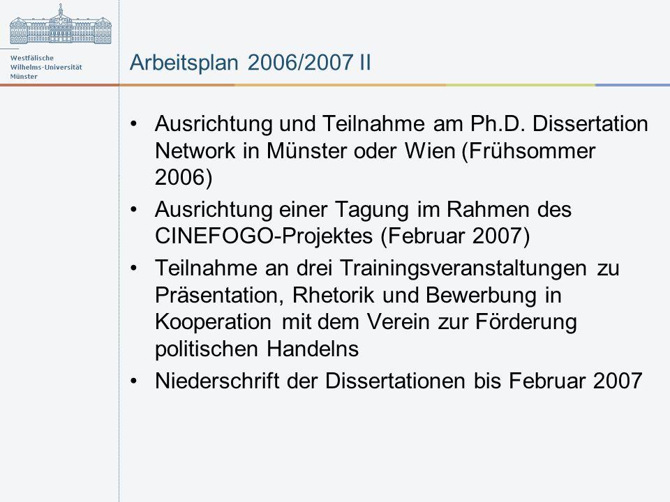 Arbeitsplan 2006/2007 II Ausrichtung und Teilnahme am Ph.D. Dissertation Network in Münster oder Wien (Frühsommer 2006) Ausrichtung einer Tagung im Ra