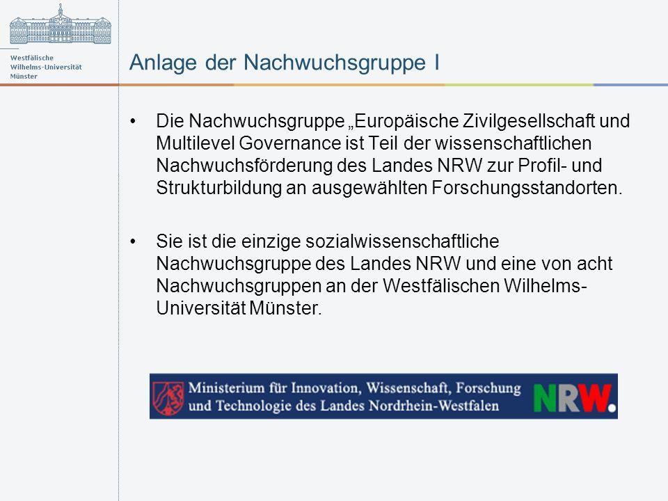 Anlage der Nachwuchsgruppe I Die Nachwuchsgruppe Europäische Zivilgesellschaft und Multilevel Governance ist Teil der wissenschaftlichen Nachwuchsförderung des Landes NRW zur Profil- und Strukturbildung an ausgewählten Forschungsstandorten.
