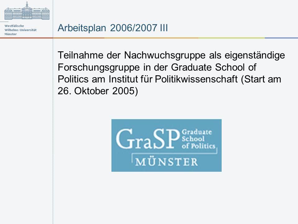 Arbeitsplan 2006/2007 III Teilnahme der Nachwuchsgruppe als eigenständige Forschungsgruppe in der Graduate School of Politics am Institut für Politikwissenschaft (Start am 26.