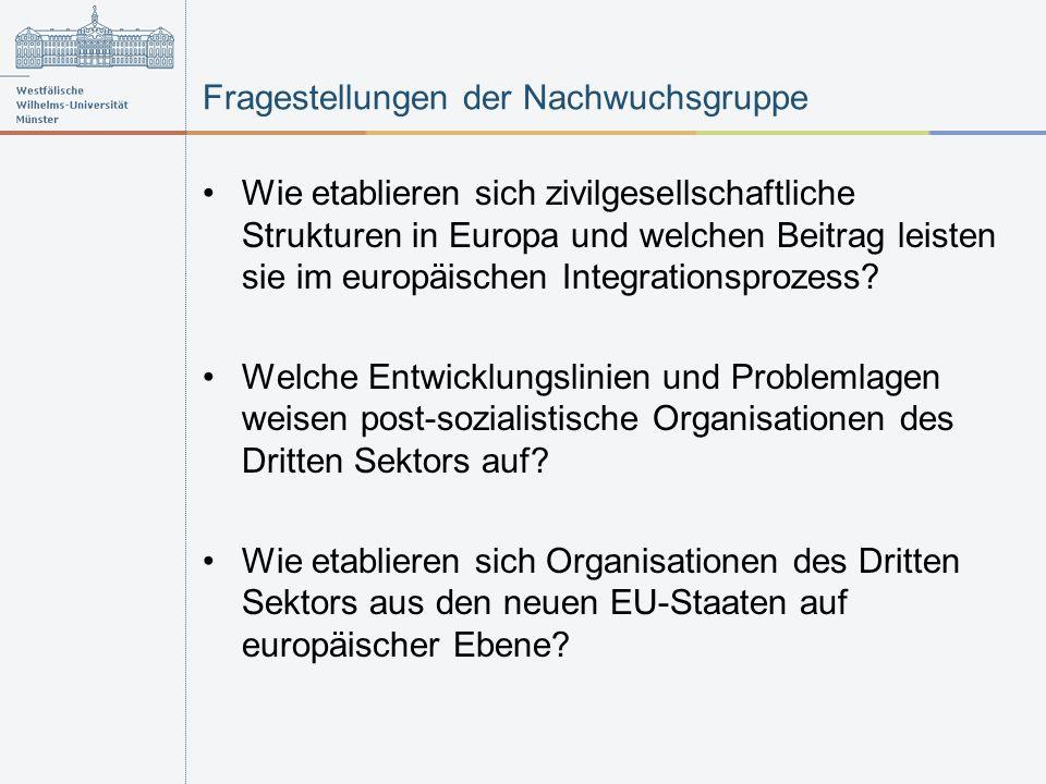 Fragestellungen der Nachwuchsgruppe Wie etablieren sich zivilgesellschaftliche Strukturen in Europa und welchen Beitrag leisten sie im europäischen Integrationsprozess.