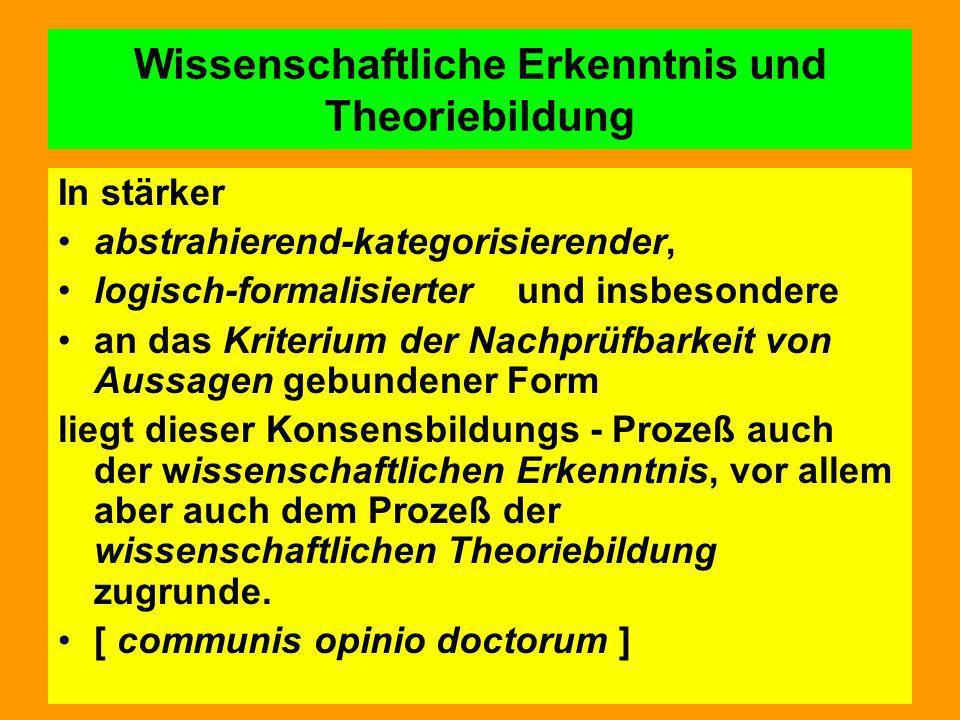 Wissenschaftliche Erkenntnis und Theoriebildung In stärker abstrahierend-kategorisierender, logisch-formalisierter und insbesondere an das Kriterium d