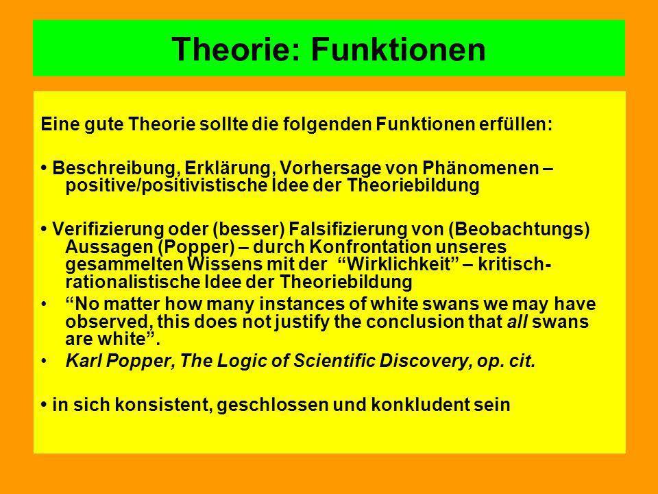 Theorie: Funktionen Eine gute Theorie sollte die folgenden Funktionen erfüllen: Beschreibung, Erklärung, Vorhersage von Phänomenen – positive/positivi