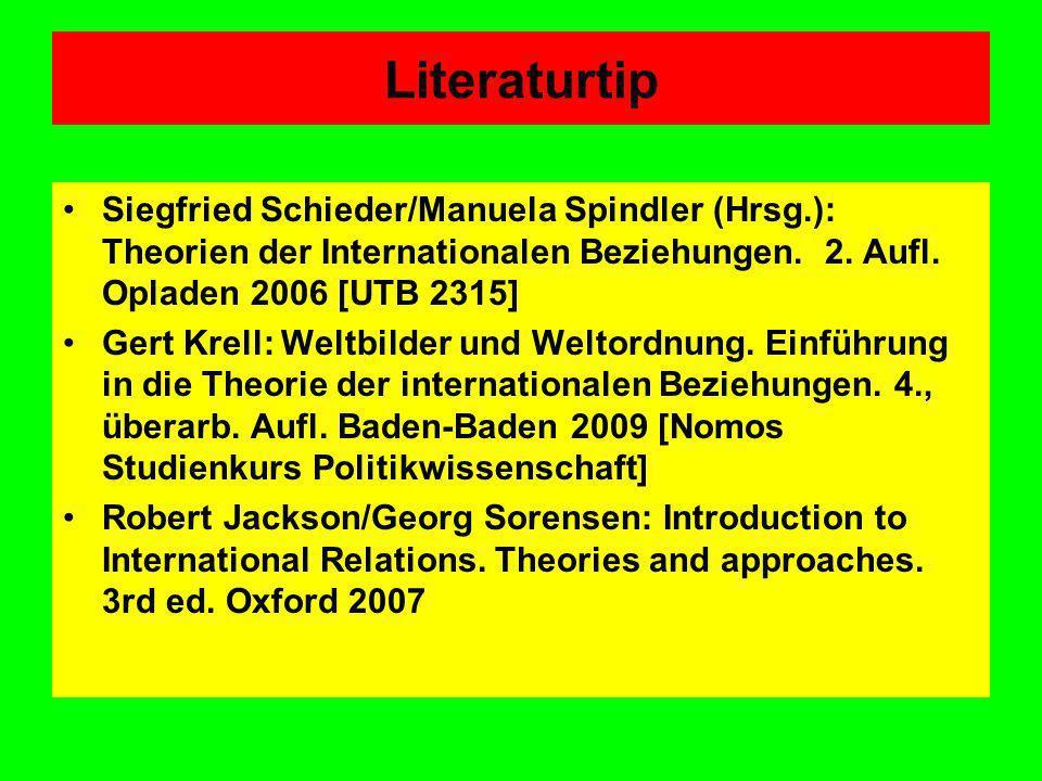 Literaturtip Siegfried Schieder/Manuela Spindler (Hrsg.): Theorien der Internationalen Beziehungen. 2. Aufl. Opladen 2006 [UTB 2315] Gert Krell: Weltb