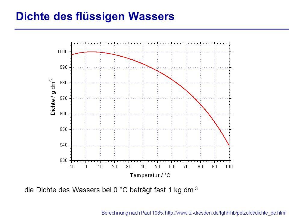 Dichte des flüssigen Wassers die Dichte des Wassers bei 0 °C beträgt fast 1 kg dm -3 Berechnung nach Paul 1985: http://www.tu-dresden.de/fghhihb/petzo