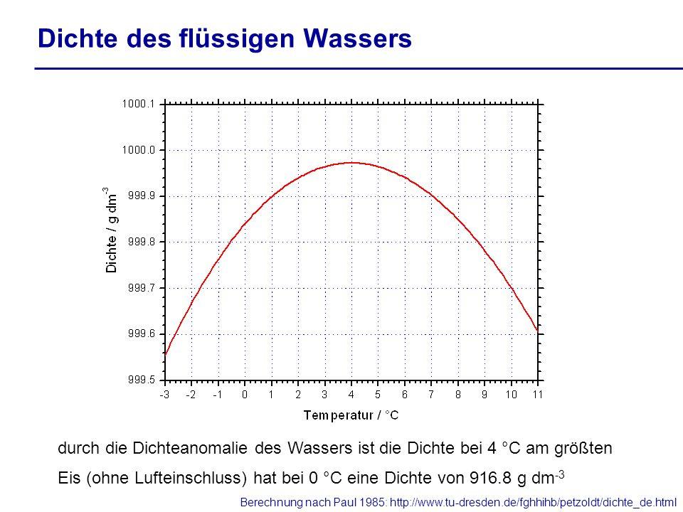 Dichte des flüssigen Wassers durch die Dichteanomalie des Wassers ist die Dichte bei 4 °C am größten Eis (ohne Lufteinschluss) hat bei 0 °C eine Dicht